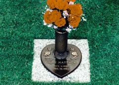 Baby Heart Daisies & Vase Granite Grave Marker