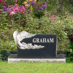 Black Granite Upright Angel Monument