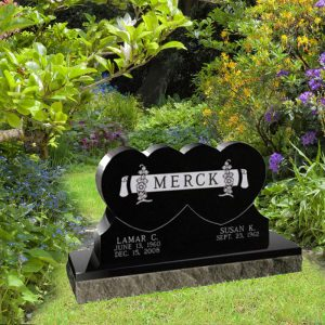 Black Granite Upright Double Heart Shaped Monument