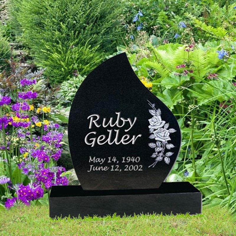 Black Granite Upright Leaf Monument