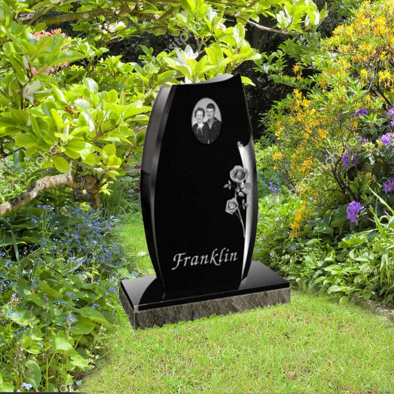 Black Tall Granite Upright Monument With Photo