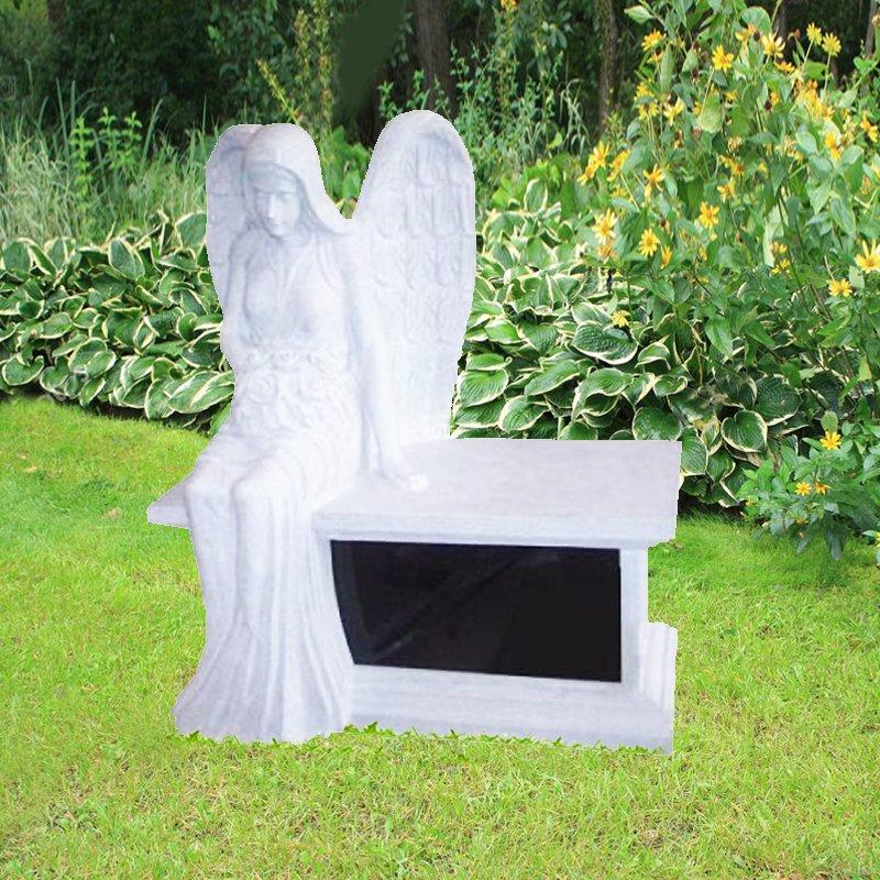 White Angel Granite Bench Monument