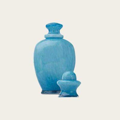 Amphora Aqua Handblown Glass Urn