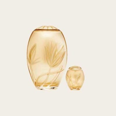 Golden Tulip Crystal Urn