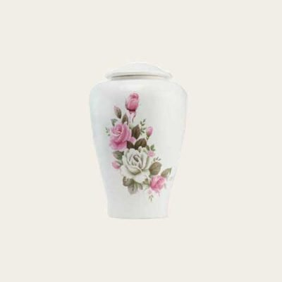 Ivory Rose Ceramic Urn