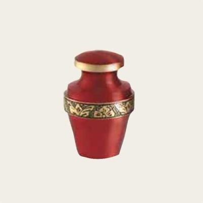 Metal Grecian Crimson Keepsake Brass Urn