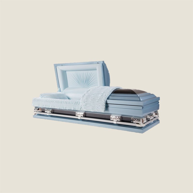 18 Gauge Gasketed Half Couch Blue Multi Size Casket