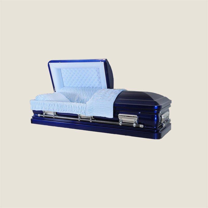 18 Gauge Gasketed Half Couch Cobalt Blue Casket