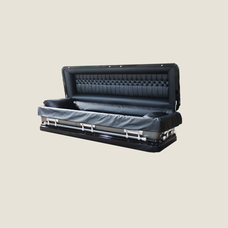 18 Gauge Gasketed Full Couch Black Leather Casket