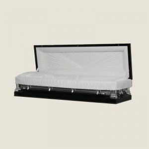 18 Gauge Gasketed Full Couch Black & Silver Casket