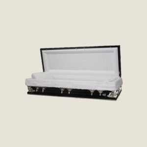 18 Gauge Gasketed Full Couch Black & Silver Multi Size Casket