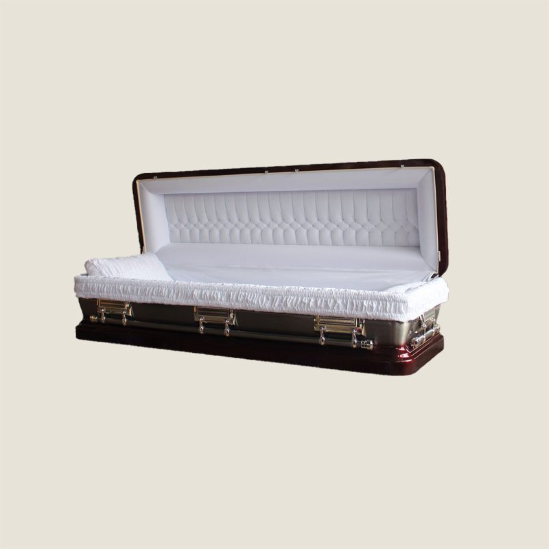 18 Gauge Gasketed Full Couch Brown & Silver Casket