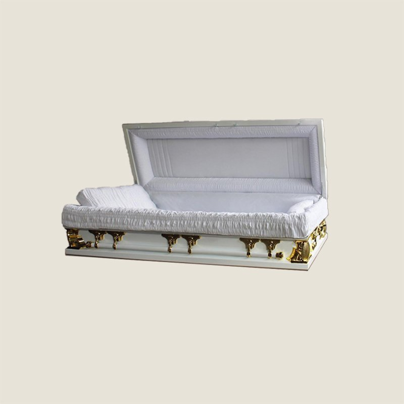 18 Gauge Gasketed Full Couch Gold & White Multi Size Casket