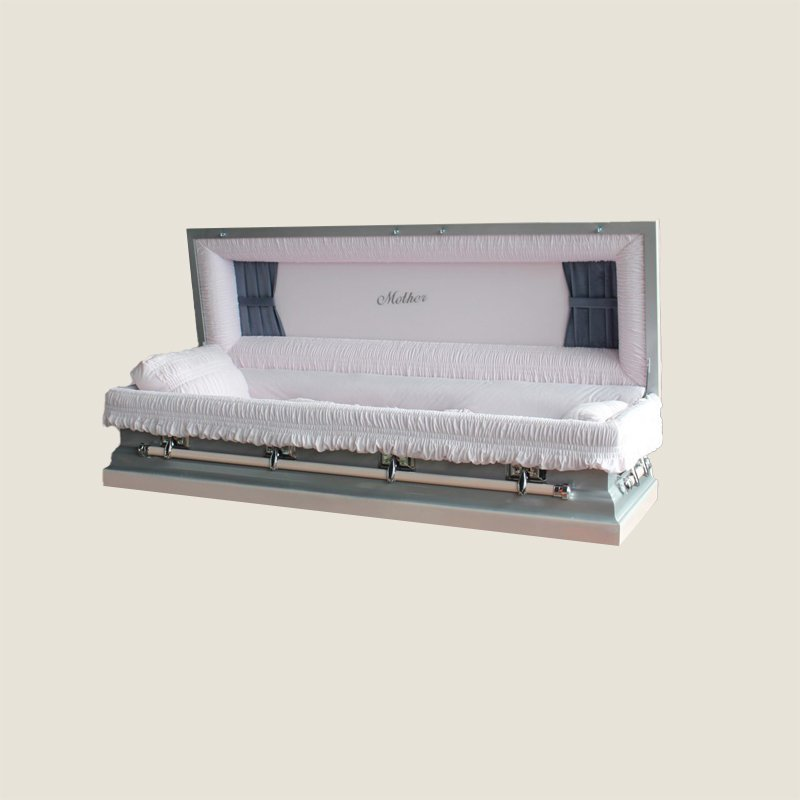 18 Gauge Gasketed Full Couch Silver Mother Casket
