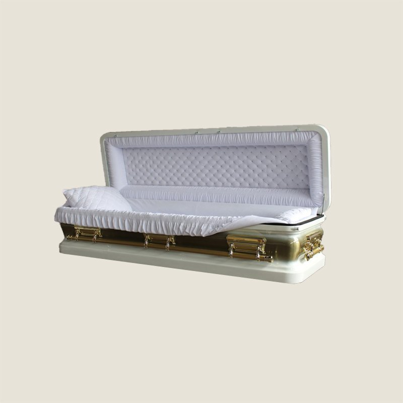 18 Gauge Gasketed Full Couch White & Gold Casket