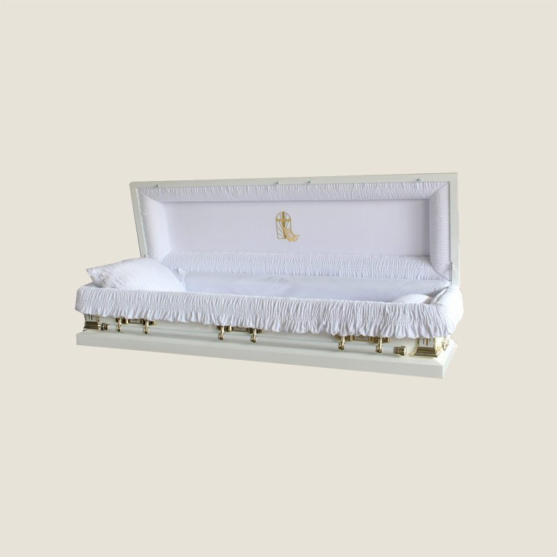 18 Gauge Gasketed Full Couch White Gold Cross Casket