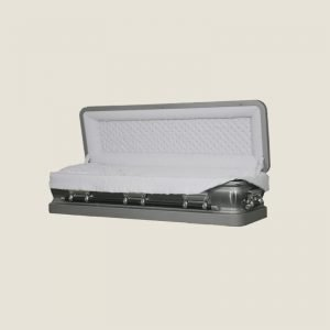 18 Gauge Gasketed Full Couch White & Silver Casket