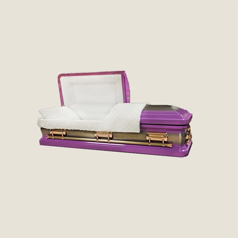 18 Gauge Gasketed Lilac With White Velvet Casket