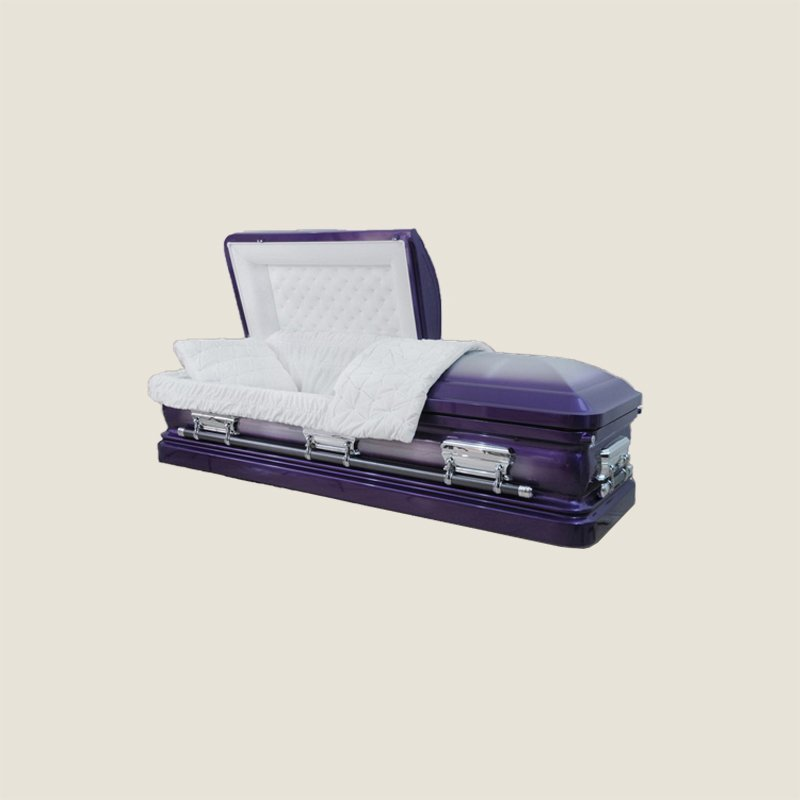 18 Gauge Gasketed Purple With White Velvet Casket