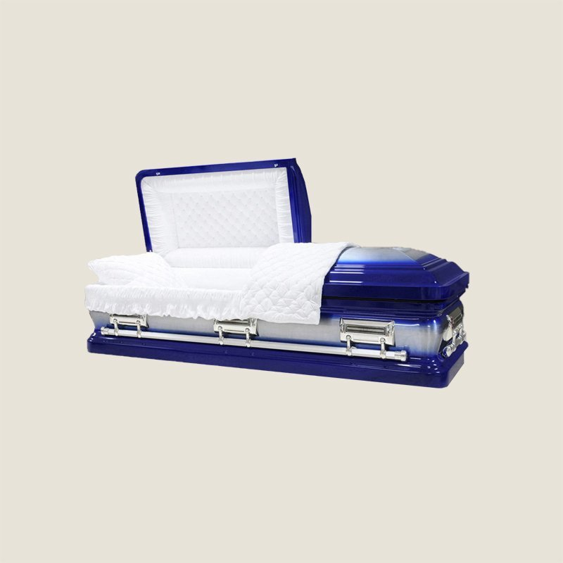 18 Gauge Gasketed Half Couch Royal Blue Casket