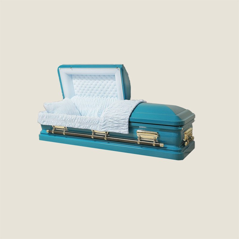 18 Gauge Gasketed Half Couch Turquoise Casket