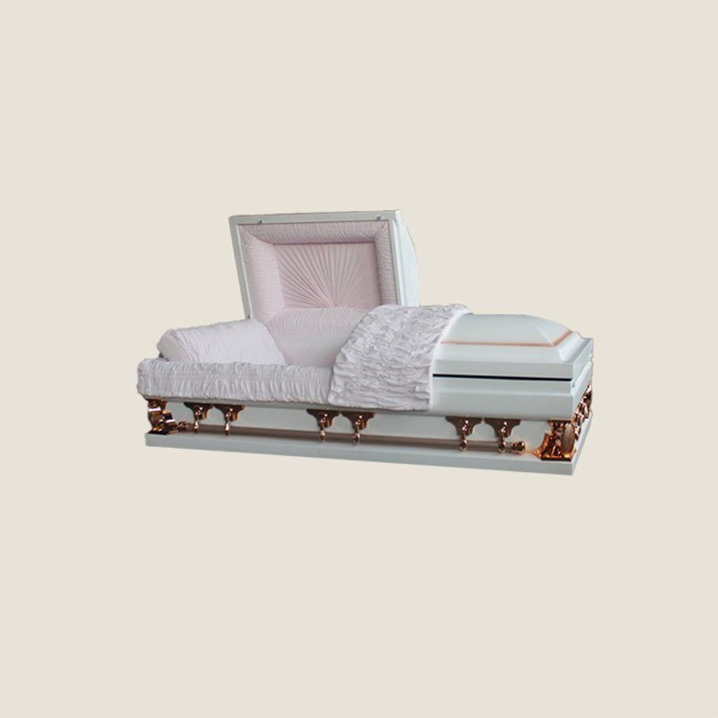 18 Gauge Gasketed Half Couch White & Pink Multi Size Casket