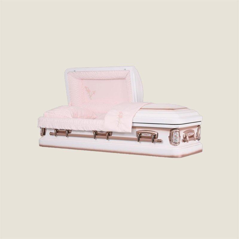 18 Gauge Gasketed White & Pink Rose Casket