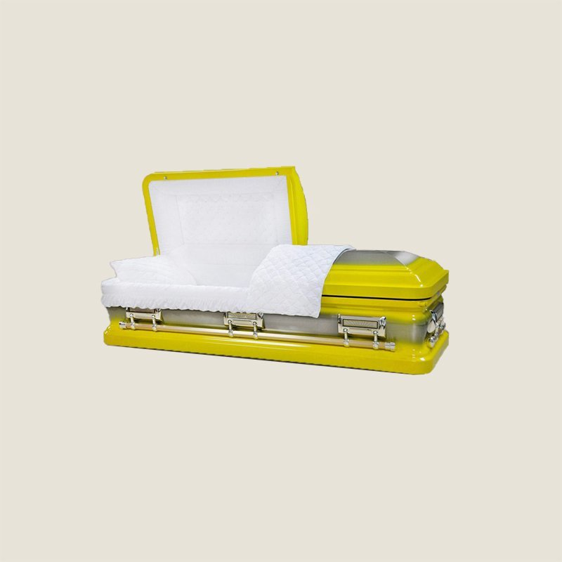 18 Gauge Gasketed Yellow Half Couch With White Velvet Casket