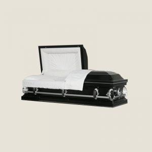 20 Gauge Gasketed Half Couch White Crepe Black Casket