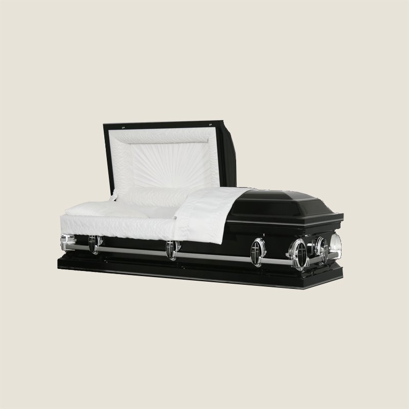 20 Gauge Gasketed Half Couch White Crepe Black Casket