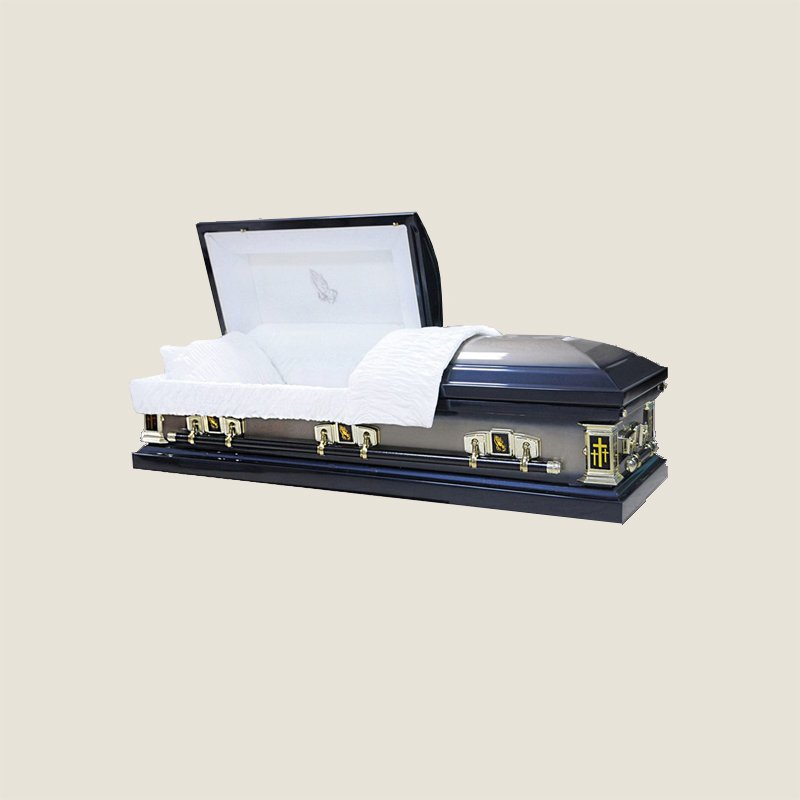 20 Gauge Gasketed White Crepe Blue Casket