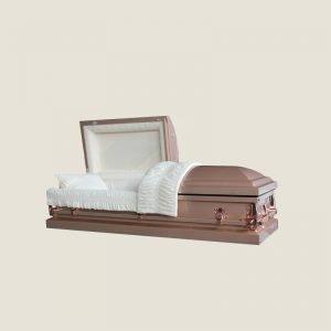 20 Gauge Gasketed Half Couch Ivory Crepe Copper Casket