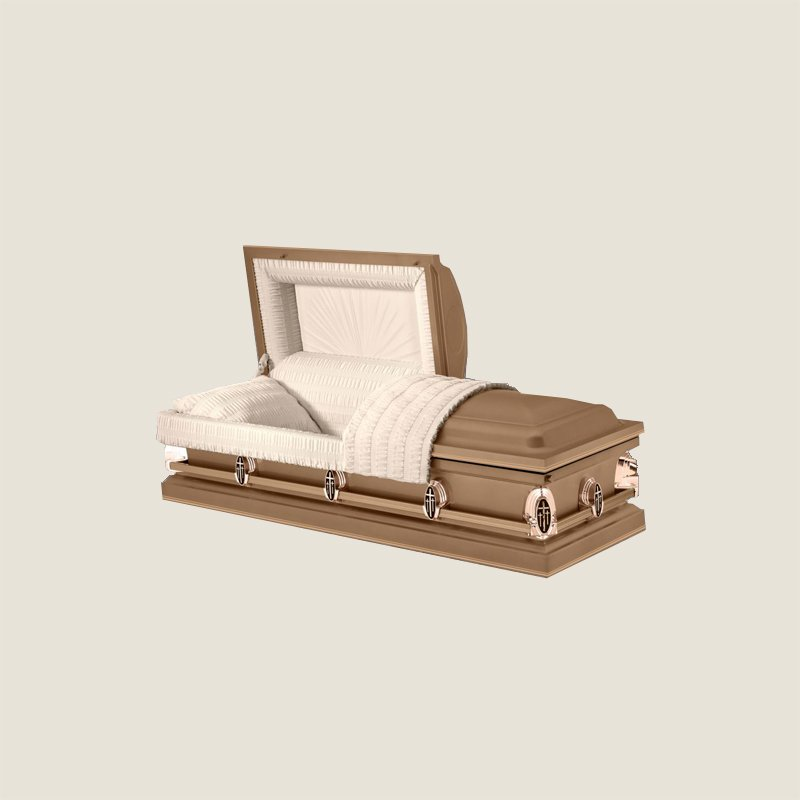 20 Gauge Gasketed Half Couch Ivory Crepe Copper Casket