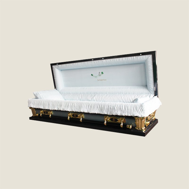 20 Gauge Gasketed Full Couch Blue Crepe Casket