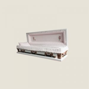 20 Gauge Gasketed Full Couch Pink Crepe White Casket