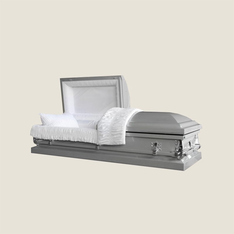 20 Gauge Gasketed Half Couch White Crepe Sliver Casket