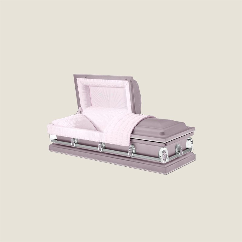 20 Gauge Gasketed Half Couch Ivory Crepe Pink Casket