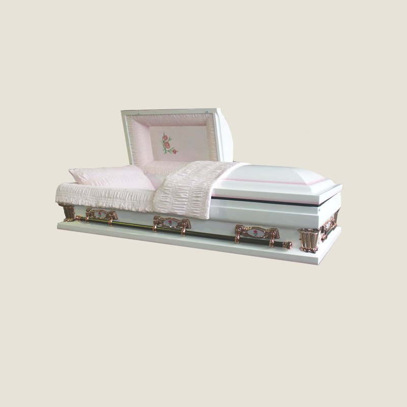 20 Gauge Gasketed Pink Crepe White Casket