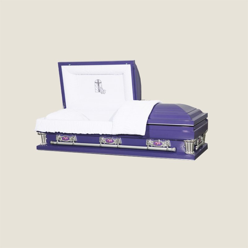 20 Gauge Gasketed Half Couch White Crepe Purple Casket