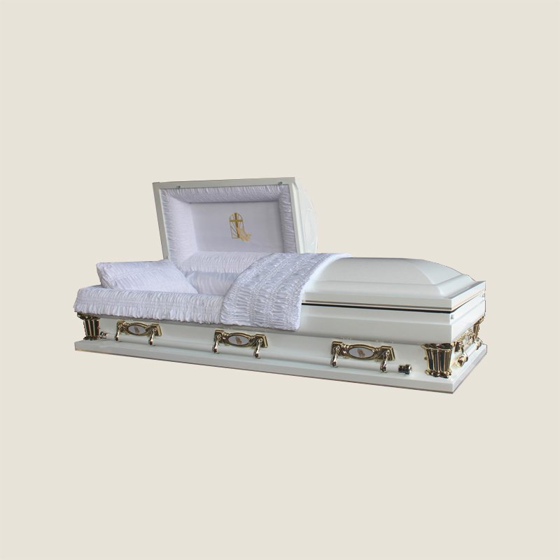 20 Gauge Gasketed Half Couch White Crepe Gold Casket