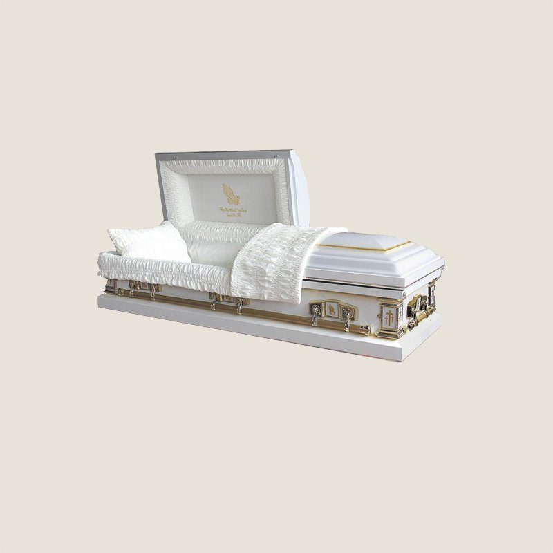 20 Gauge Gasketed White Crepe Gold Casket
