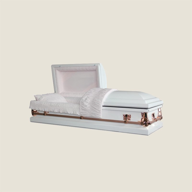 20 Gauge Gasketed Half Couch Pink Crepe White Casket