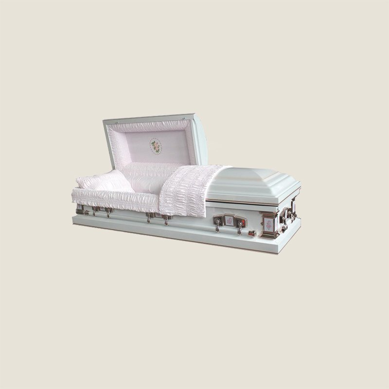 20 Gauge Gasketed Half Couch White Crepe Pink Casket