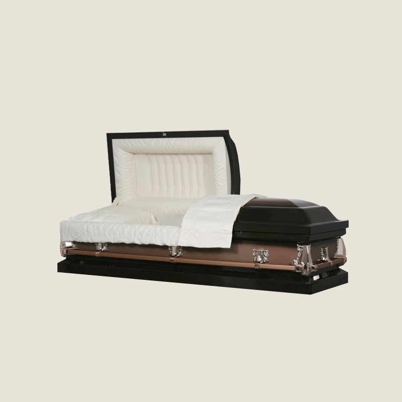 20 Gauge Non-Gasketed Half Couch Ivory Crepe Copper Casket