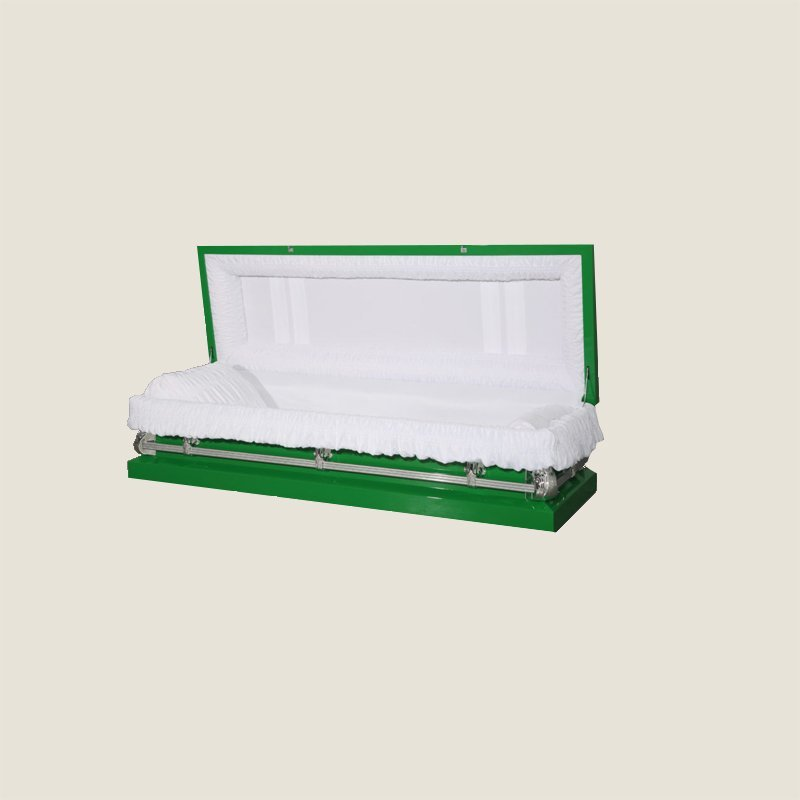 20 Gauge Non-Gasketed Full Couch White Crepe Green Casket