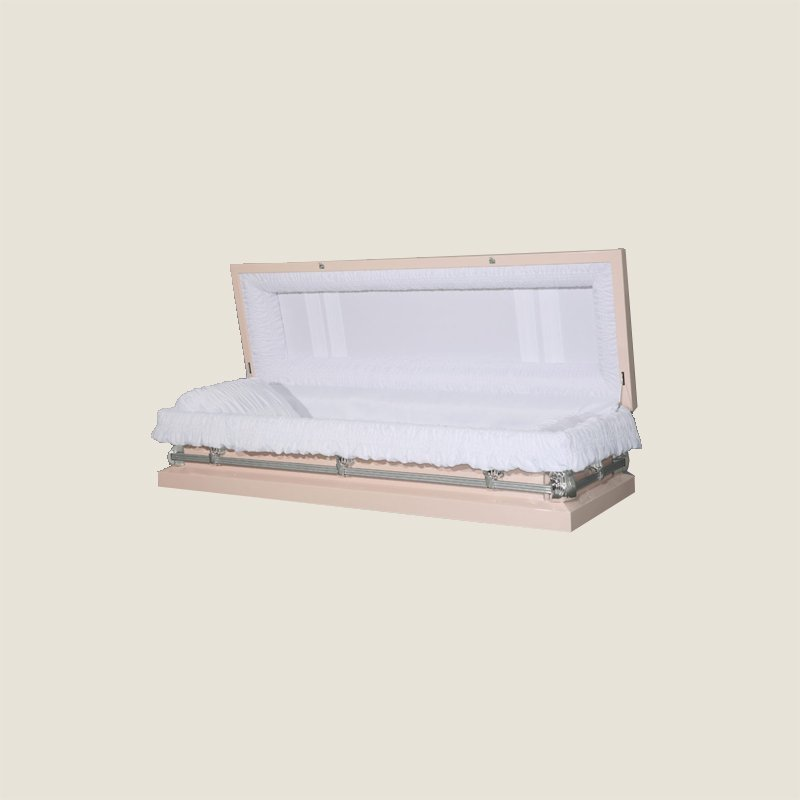 20 Gauge Non-Gasketed Full Couch White Crepe Pink Casket