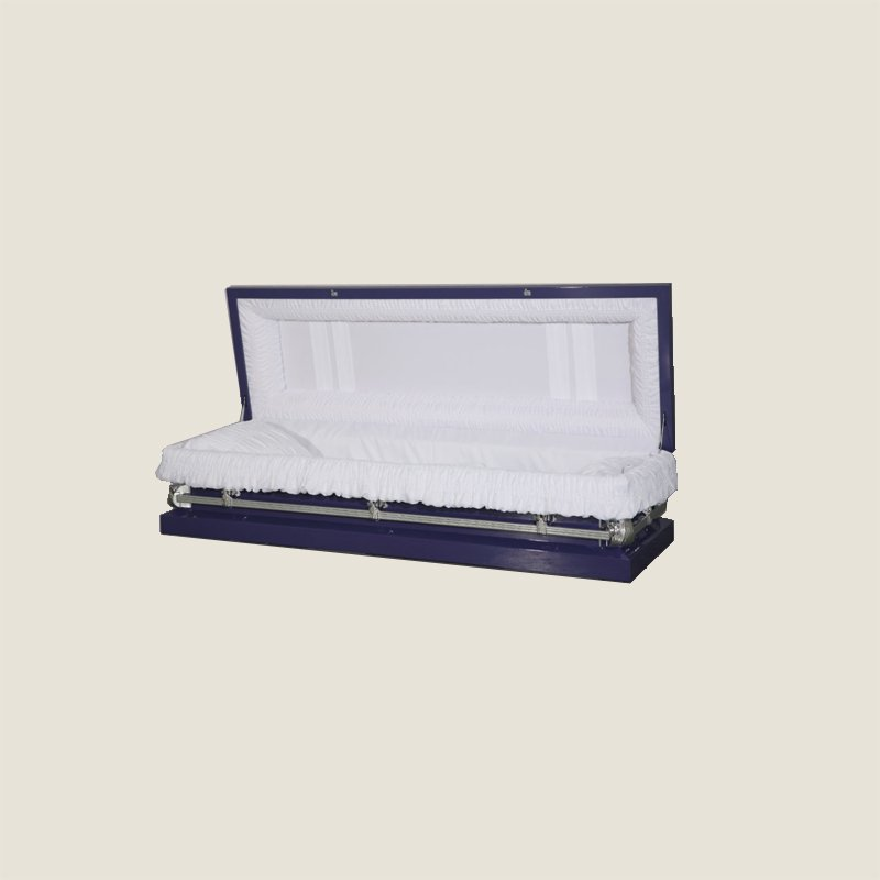 20 Gauge Non-Gasketed Full Couch White Crepe Purple Casket