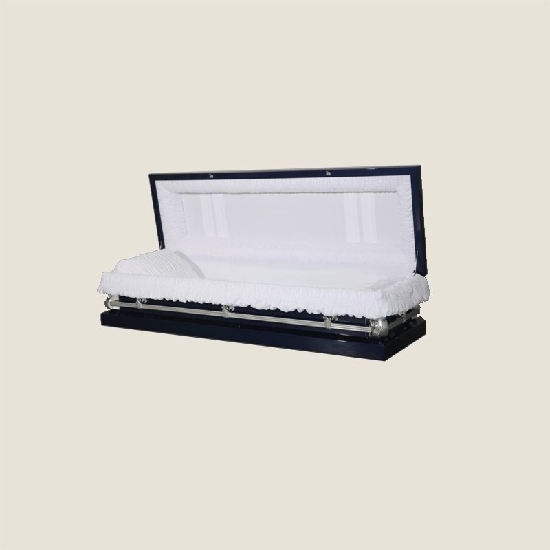 20 Gauge Non-Gasketed Full Couch White Crepe Royal Blue Casket