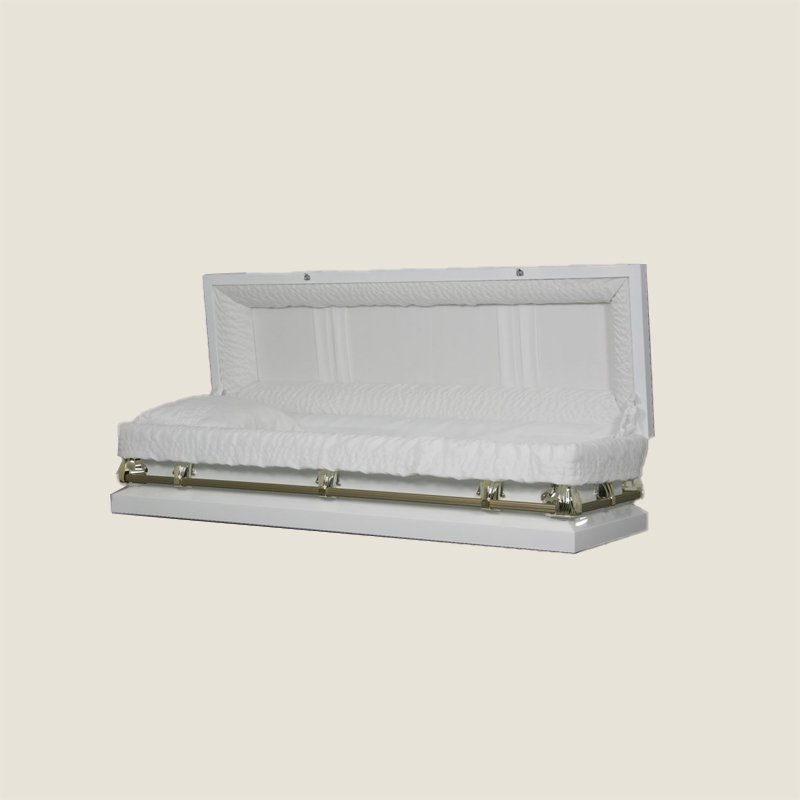 20 Gauge Non-Gasketed Full Couch White Crepe Gold Casket