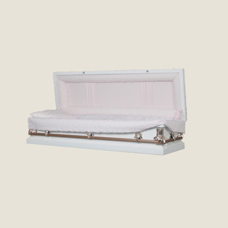 20 Gauge Non-Gasketed Full Couch Pink Crepe White Casket